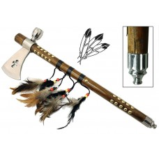 The American Feather Beaded Celtic Cross Indian Battle Warrior  Traditional Native American Ceremonial Spiritual Balance Peace & War Tomahawk Hatchet Axe Functional Smoking Tobacco Pipe