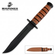 Full Size US Marine Corps USMC Fighing Fighter Combat Bowie Knife, Straight with Leather Sheath