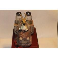 The 3D Deer In Wooden Truck Has Gone Human Hunting Salt & Pepper Shaker Set