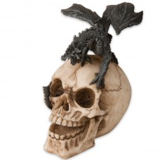 "New 5 3/4"" Winged Flying Fire Breathing Dragon On A Laughing Skull Head Statue"