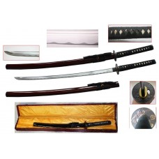 New Handmade Battle Ready Razor Sharp Japanese Samurai War Lord Oda Nobunaga Wakizashi Katana Sword with Display Case