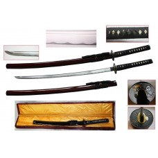 New Handmade Battle Ready Razor Sharp Japanese Samurai War Lord Warrior Date Masamune Wakizashi Katana Sword with Display Case