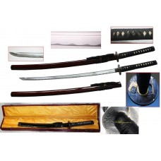 New Handmade Battle Ready Razor Sharp Japanese Samurai War Lord Warrior Toyotomi Hideyshi Wakizashi Katana Sword with Display Case
