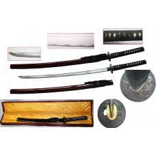 New Handmade Battle Ready Razor Sharp Japanese Fighting Samurai War Lord Warrior Tokugawa Ieyasu Wakizashi Katana Sword with Display Case