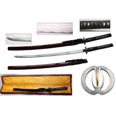 New Handmade Battle Ready Razor Sharp Japanese Fighting Samurai War Lord Warrior Miyamoto Musashi Wakizashi Katana Sword with Display Case